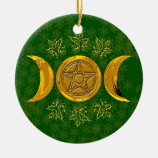 De gouden Drievoudige Sneeuwvlokken van de Hulst Rond Keramisch Ornament