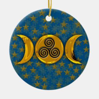 De gouden Drievoudige Sneeuwvlokken van de Sterren Rond Keramisch Ornament