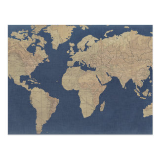 De gouden en Blauwe Kaart van de Wereld