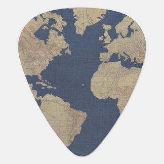 De gouden en Blauwe Kaart van de Wereld Gitaar Plectrum 0