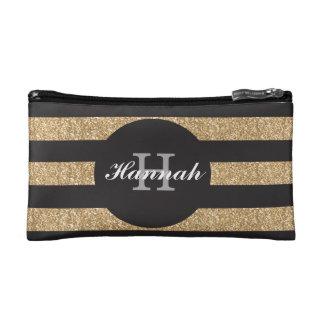De gouden en zwarte gepersonaliseerde zak van de cosmetica tasje