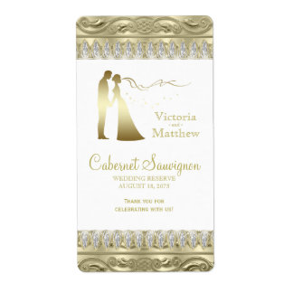 De gouden Etiketten van de Wijn van het Huwelijk