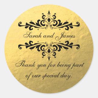 De gouden Folie kijkt de Gunst van het Huwelijk Ronde Sticker