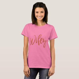 De Gouden Folie van Wifey en het Roze Overhemd van T Shirt