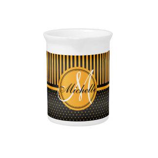 De Gouden Gele Stippen van het monogram & Zwarte Drink Pitcher