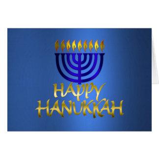 De gouden Gelukkige Chanoeka van Vlammen Menorah Briefkaarten 0
