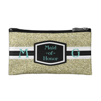 De gouden Gift van het Eerste bruidsmeisje Bling Make-up Bag