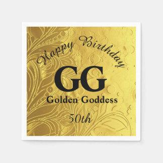 De gouden Godin viert de Gelukkige 50ste Partij Papieren Servetten