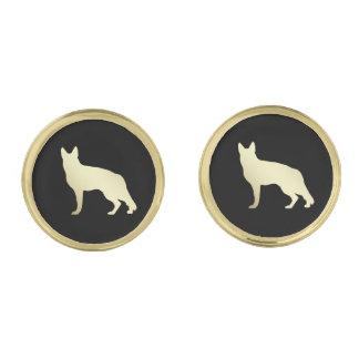 De gouden Hond van de Duitse herder op Zwarte Vergulde Manchetknopen