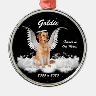 De gouden Hond van de Engel van Gaurdian van het Zilverkleurig Rond Ornament