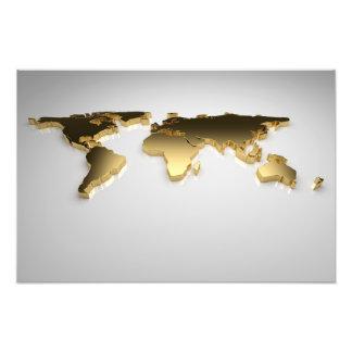 De gouden Kaart van de Wereld op Grijze 3d Achterg Foto