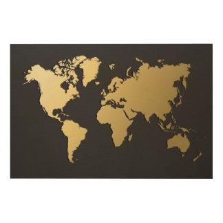 De gouden Kaart van de Wereld op Zwarte Chevron Hout Afdruk
