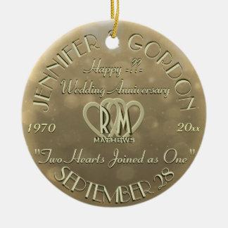 De Gouden Kleur van het Jubileum van het Monogram Rond Keramisch Ornament