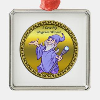 De gouden Magische paarse tovenaar van de Zilverkleurig Vierkant Ornament