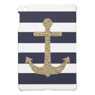 De gouden Marine van het Anker & het Witte iPad Mini Hoesje