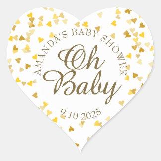 De gouden Oh van Harten Gunst van het Baby shower Hart Sticker