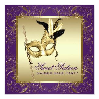 De gouden Paarse Zoete Partij van Zestien 13,3x13,3 Vierkante Uitnodiging Kaart