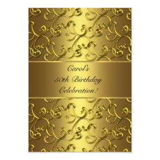 De gouden Partij van de Verjaardag van de 12,7x17,8 Uitnodiging Kaart