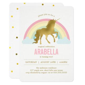 De gouden Partij van de Verjaardag van de Meisjes 12,7x17,8 Uitnodiging Kaart