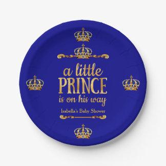 De Gouden Prins van koningsblauwen op Zijn Baby Papieren Bordje