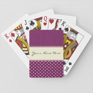 De Gouden Stippen van Glittery op Fancy Paars Speelkaarten