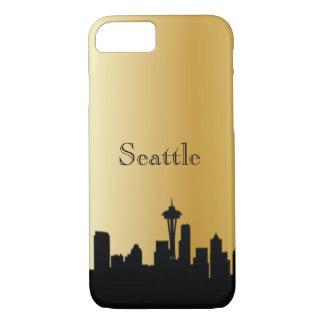 De gouden Telefoon van het Silhouet van Seattle & iPhone 7 Hoesje