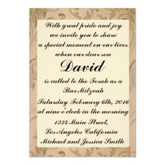 De gouden Uitnodigingen van Mitzvah van de Bar van