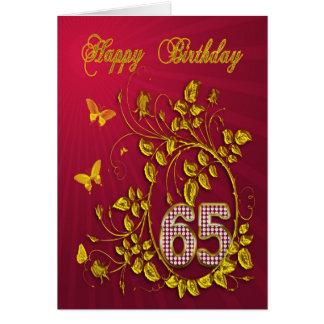 de gouden vlinders van de 65ste Verjaardag Wenskaart