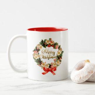 De gouden Vrolijke Kalligrafie van Kerstmis | Tweekleurige Koffiemok