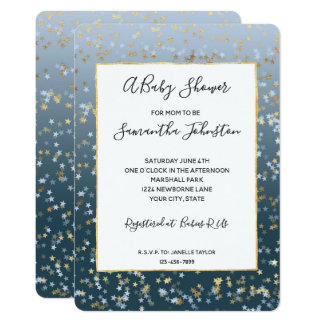 De gouden Witte Blauwe Sterren glanzen Helder Baby Kaart