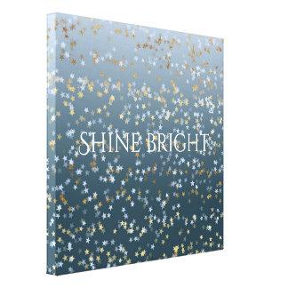De gouden Witte Blauwe Sterren glanzen Helder Canvas Afdruk