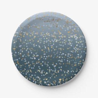De gouden Witte Blauwe Sterren glanzen Helder Papieren Bordje