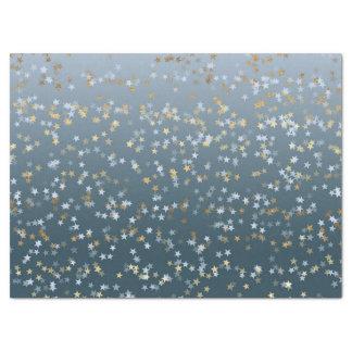 De gouden Witte Blauwe Sterren glanzen Helder Tissuepapier
