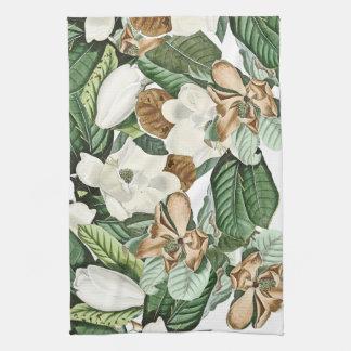 De gouden Witte Magnolia bloeit de BloemenHanddoek Theedoek