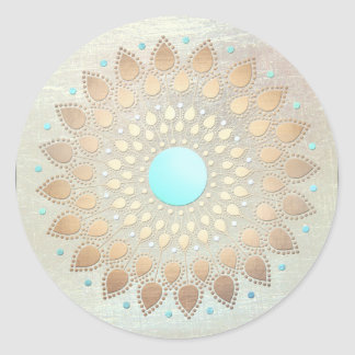 De gouden Yoga van Lotus en Meditation het Ronde Sticker