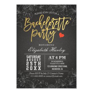 De gouden & Zwarte BloemenUitnodiging van de 12,7x17,8 Uitnodiging Kaart