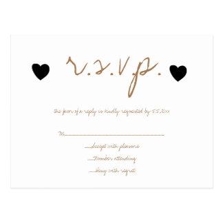 De gouden zwarte kaarten van het hartenhuwelijk briefkaart
