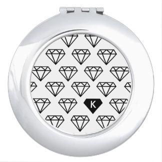 De grafische Compacte Spiegel van het Monogram van Reisspiegeltjes