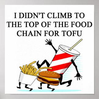 de grap van de amtiveganist van de voedselpolitie poster