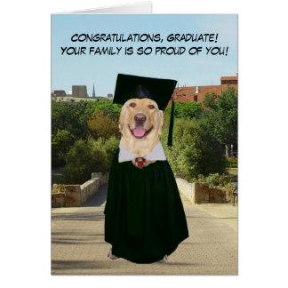 De grappige Afstuderen van de Hond/van het Wenskaart