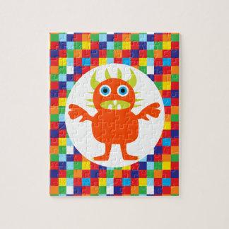 De grappige Blokken van de Kleur van het Oranje Legpuzzel