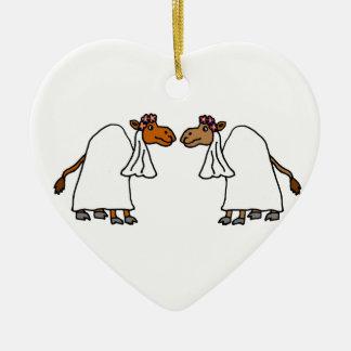 De grappige Bruid van de Kameel en Bruid Keramisch Hart Ornament