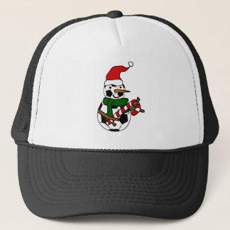 De grappige Cartoon van Kerstmis van de Sneeuwman Trucker Pet
