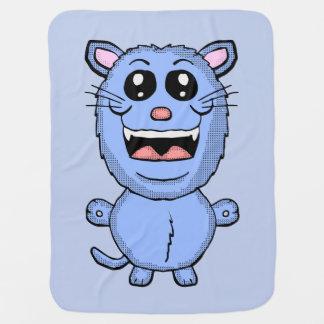 De grappige deken van de Kat van de Cartoon Blauwe Inbakerdoek