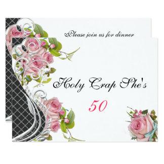 De grappige Elegante Roze Rozen van de 50ste 12,7x17,8 Uitnodiging Kaart
