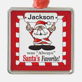 De Grappige Favoriet van de kerstman - Zilverkleurig Vierkant Ornament