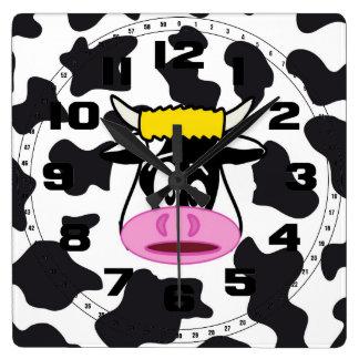 De grappige Gekke Stier van de Koe op het Patroon Vierkante Klok