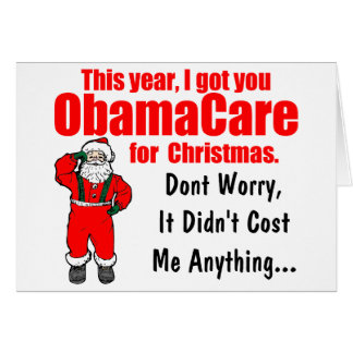 De grappige Groet van Kerstmis ObamaCare Briefkaarten 0