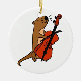 De grappige het Spelen van de Otter van het Zee Rond Keramisch Ornament
