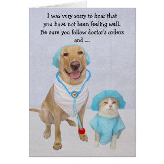 De grappige Hond/het Laboratorium & de Kat worden Briefkaarten 0